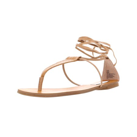 32b147e829e Steve Madden Womens Tiitan Faux Leather T-Strap Flat Sandals