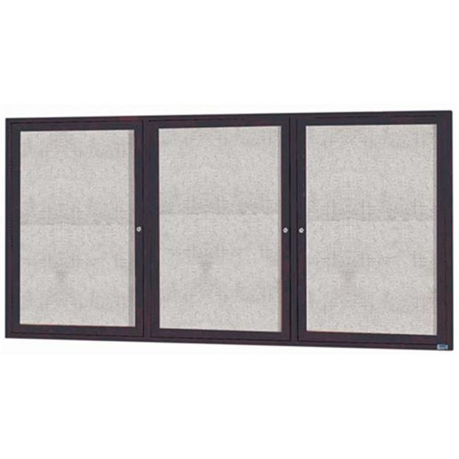 Aarco Products ODCC3672-3RIBA 3-Door Illuminated Outdoor Enclosed Bulletin Board - Bronze Anodized