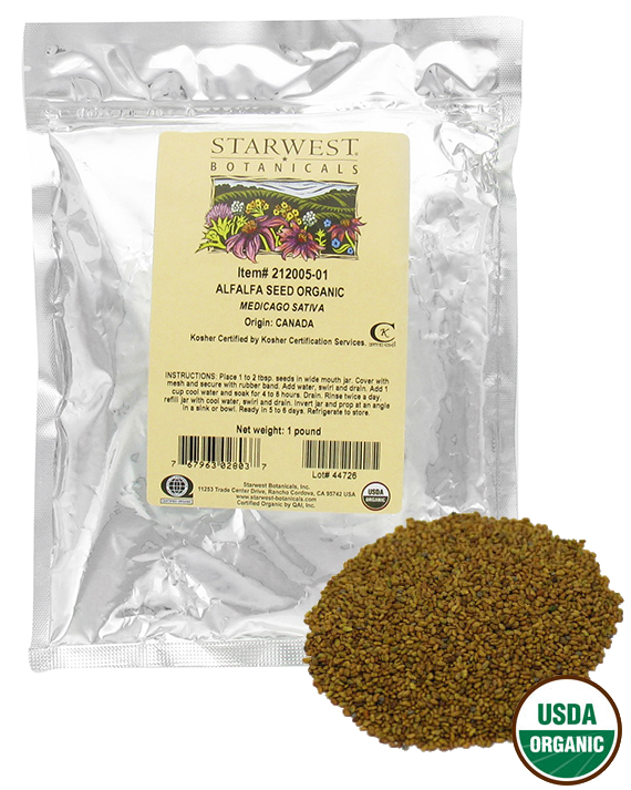 Starwest Botanicals Bulk Alfalfa Sprouting Seeds Organic 1 lb. by Starwest