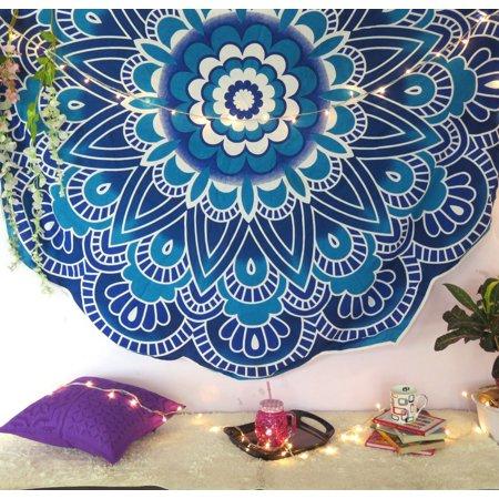 Blue Mandala Roundie Beach Throw Blanket Round Picnic Throw Cut work Roundies Hippie Beach Towel Round Tapestry - Arborist Throw Line