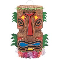 Tiki Hawaiian Luau Party Pinata, Brown, 18in x 9in, 1ct