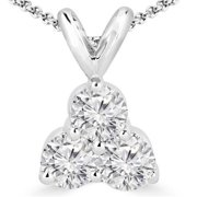 Three Stone Diamond Pendant Necklace in 14K White Gold With Chain, 0. 5 Carat