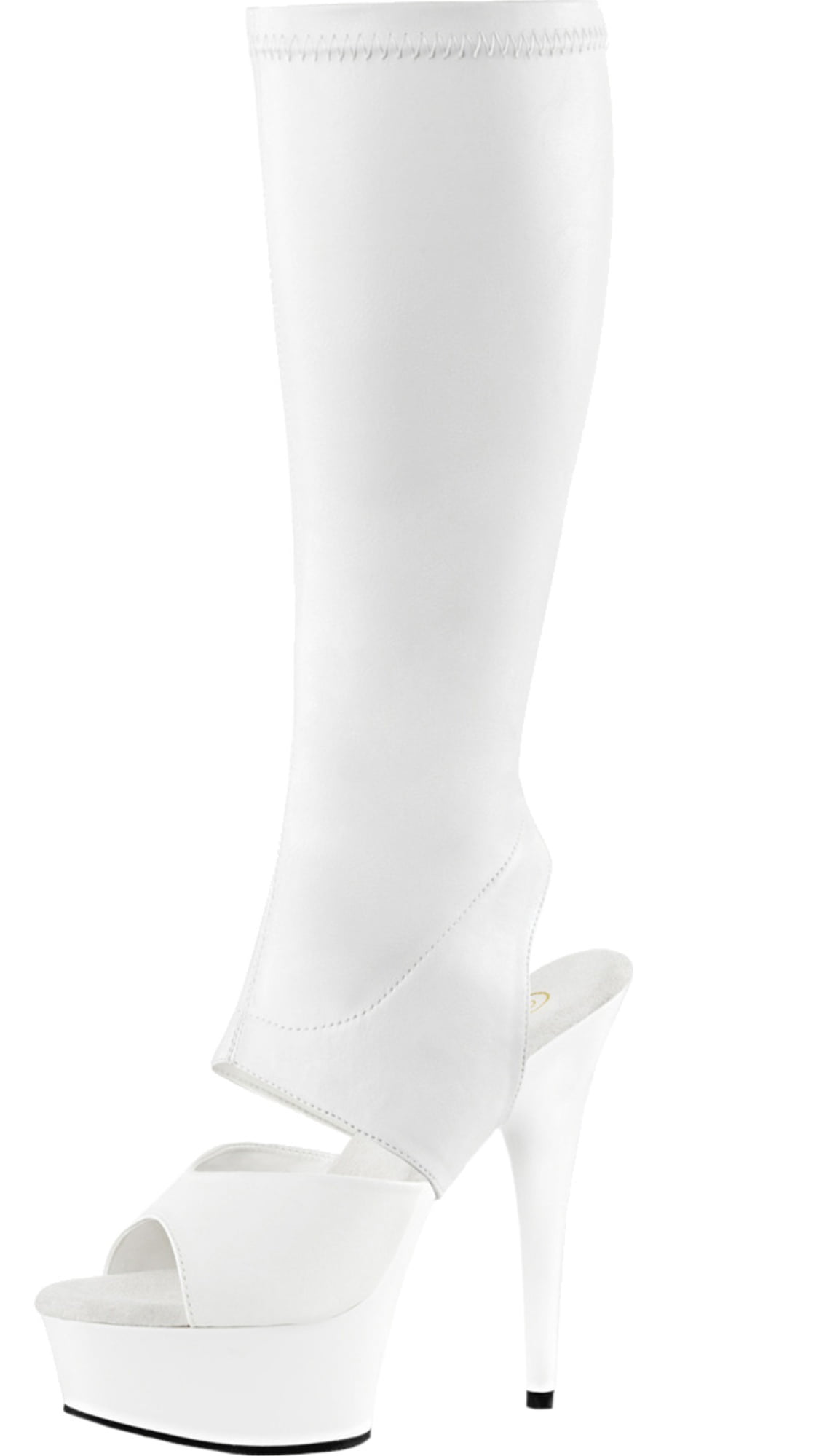 Womens White Sandal Heels Detachable Shaft Platform Boots Knee High 6 Inch Heel