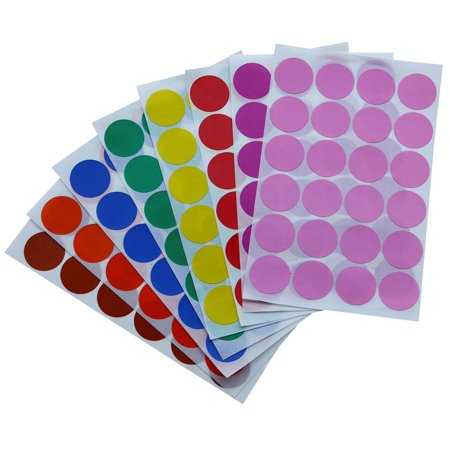 Color label stickers 1 inch 25 mm Colored dots in Green, Yellow, Pink, Purple, Orange, Brown, Blue and Red dot sticker - 768 Pack by Royal Green - Colored Dot Stickers