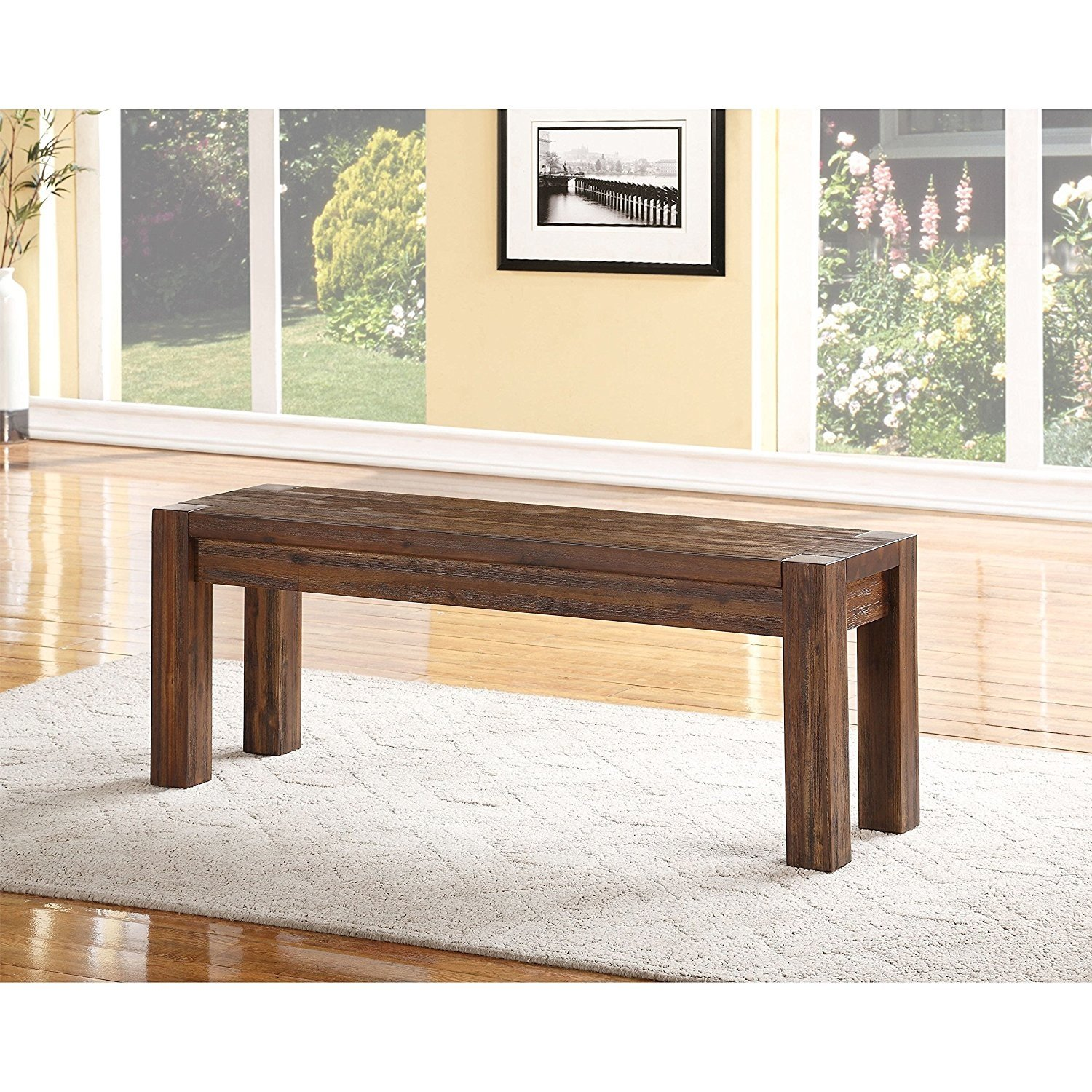 Domusindo Wire Brushed Solid Wood Dining Bench in Brick Brown