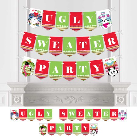 Ugly Christmas Decorations (Wild and Ugly Sweater Party - Holiday Christmas Animals Party Bunting Banner - Party Decorations - Ugly Sweater)