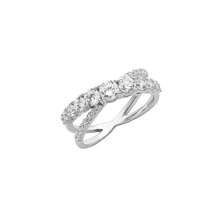 Sterling Silver and Cubic Zirconia Interlocking