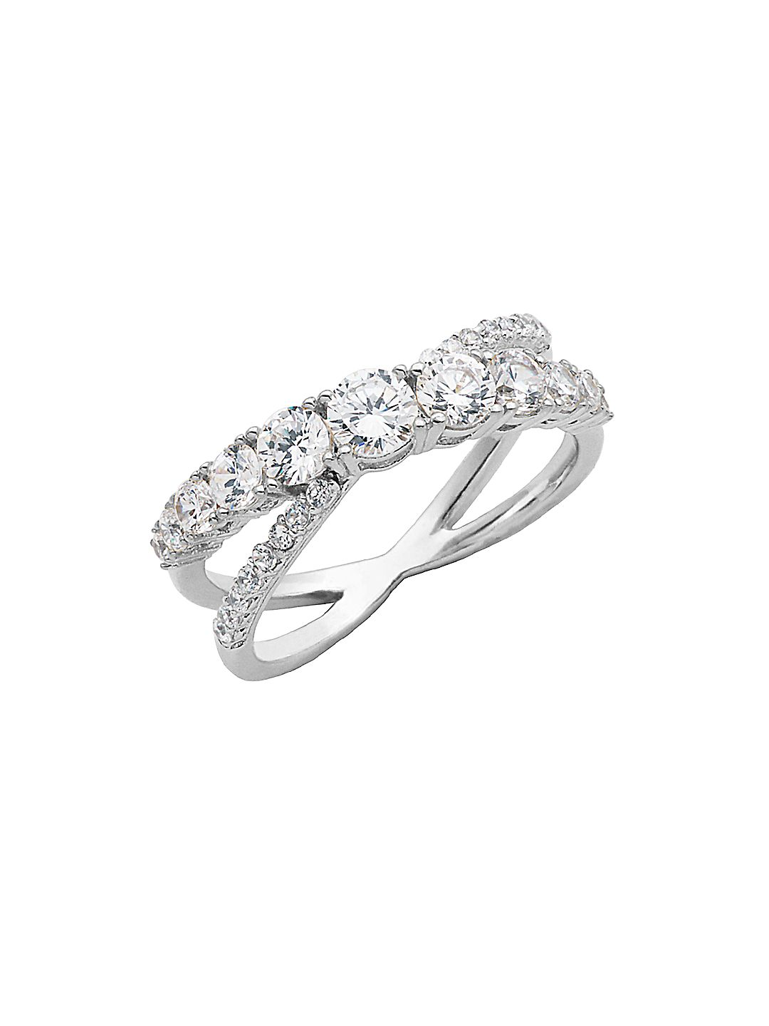 Sterling Silver and Cubic Zirconia Interlocking Ring