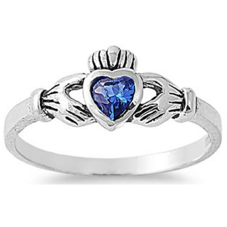 STERLING SILVER Baby RING W/CZ Faux Sapphire  Claddagh Pinky