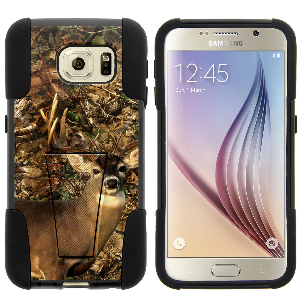 Samsung Galaxy S6 G920 STRIKE IMPACT Dual Layered Shock Resistant Case with Built-In Kickstand by Miniturtle® - Deer Hunting Camo