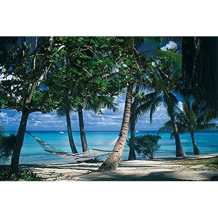 Canvas Tropical Retreat By Beverly Factor 18X12 Gallery Wrap Photograph Art Print Poster Ocean Beach Hammock Relax