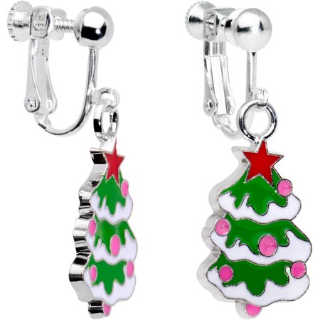 Body Candy Handcrafted Silver Plated Snowy Christmas Tree Clip On Earrings