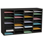 AdirOffice Wood 36 Compartment Adjustable Classroom Paper Literature Organizer File Sorter, Black