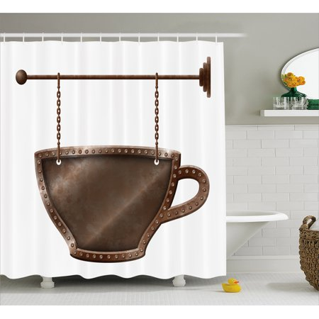 Coffee Shower Curtain Old Rusty Cup Hanging Signboard On Chains Grungy Rough Looking Mug Caffeine