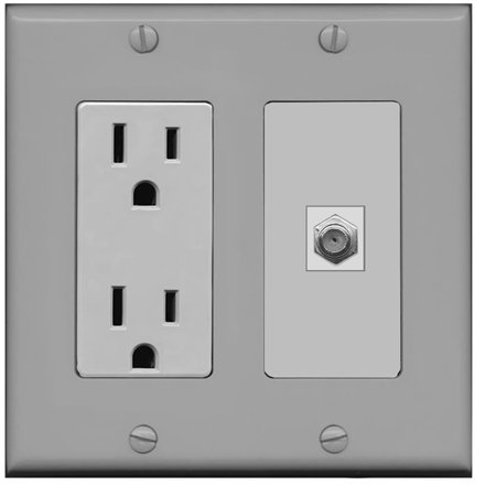 RiteAV - 15 Amp Power Outlet and 1 Port Coax Cable TV- F-Type Decora Type Wall Plate - -