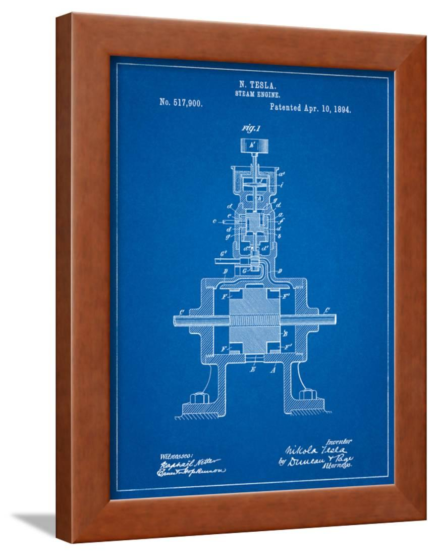 Tesla Steam Engine Patent Framed Art Print Wall By Cole Borders I5 Diagram