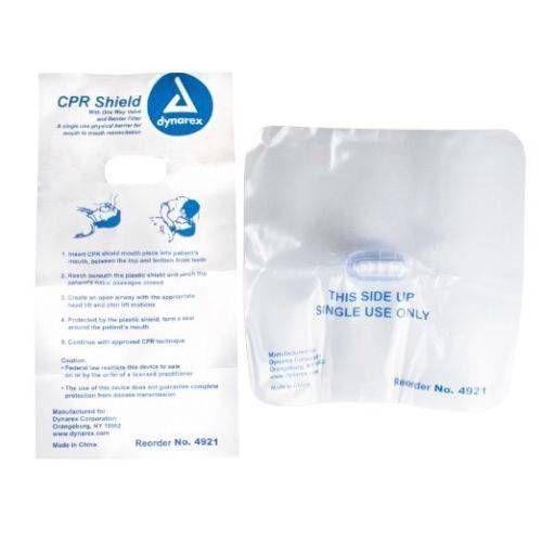 (25) Disposable CPR FACE & MOUTH SHIELD, W/1 WAY VALVE by DYNAREX MS-91475