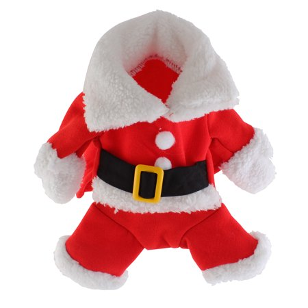 Pet Santa Claus Suit Costumes Outfit for Small Dog Cat Puppy Jumpsuit Hoodies Clothes with Hat - Pet Outfits For Dogs