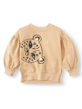 Puff Sleeve Snow Leopard Sweatshirt (Little Girls & Big Girls)