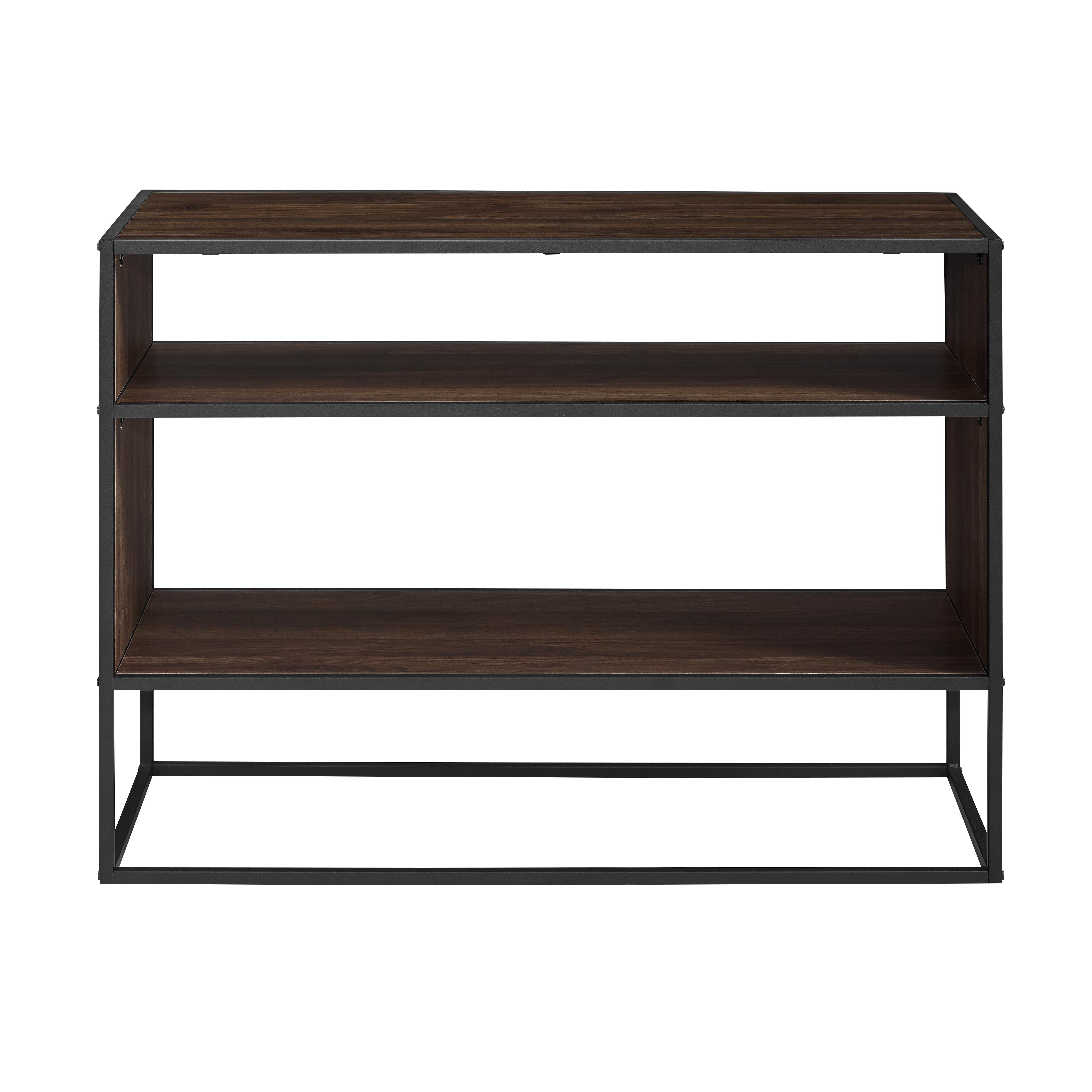 "40"" Rustic Urban Industrial Metal and Wood Open Shelf Storage TV Stand Media Console Table - Dark Walnut"