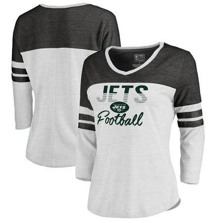 New York Jets NFL Pro Line by Fanatics Branded Women s Plus Size Color  Block 3 4 Sleeve Tri-Blend T-Shirt - White - Walmart.com 6194fdbd31