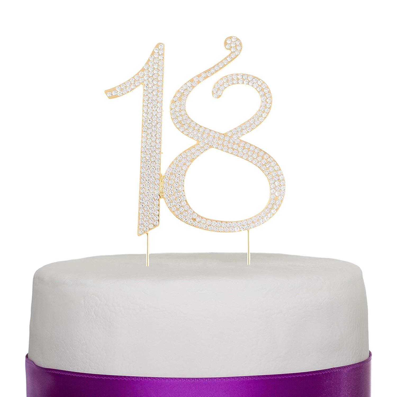Astonishing 18 Cake Topper For 18Th Birthday Party Gold Crystal Rhinestone Personalised Birthday Cards Xaembasilily Jamesorg