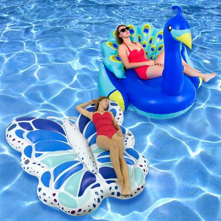Swimline Vinyl Butterfly Peacock Pool Float, Multicolor