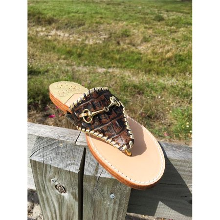 Palm Beach Sandals WELL001-9.5 Hand Crafted Womens Leather Sandals, Choc Croc & Gold - Size