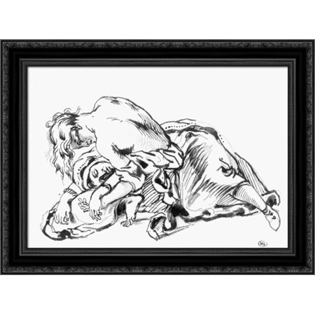 Sketch for Attila 24x19 Black Ornate Wood Framed Canvas Art by Delacroix, Eugene