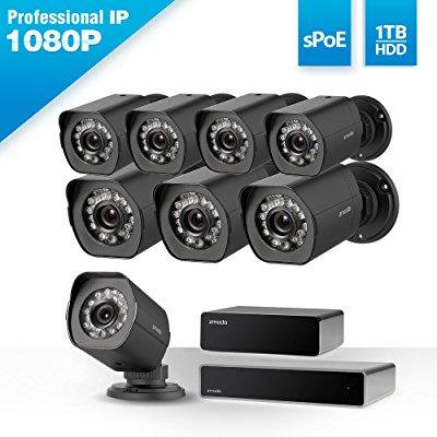Zmodo Full HD 1080p Simplified PoE Security Camera System w/Repeater, 8 x 2.0 Megapixel IP Outdoor Surveillance Camera, 8CH HDMI...