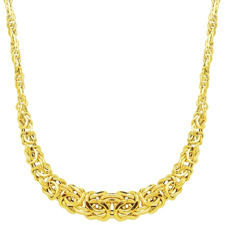 Graduated Byzantine Links Necklace in 14kt Gold