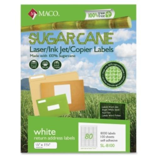"Maco Printable Sugarcane Mailing Labels - 0.50"" Width X 1.75"" Length - 8000 / Box - Rectangle - 80/sheet - Inkjet, Laser - Bright White (MSL8100)"
