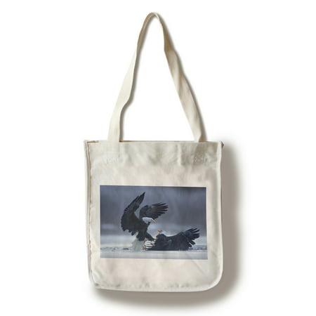 - Bald Eagles Fighting - Lantern Press Photography (100% Cotton Tote Bag - Reusable)