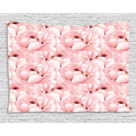 Watercolor Tapestry, Vintage Hand Drawn Cute Flowers Blossoming Nature Spring Season Inspirations, Wall Hanging for Bedroom Living Room Dorm Decor, 80W X 60L Inches, Pale Pink, by - Cute Inspiration