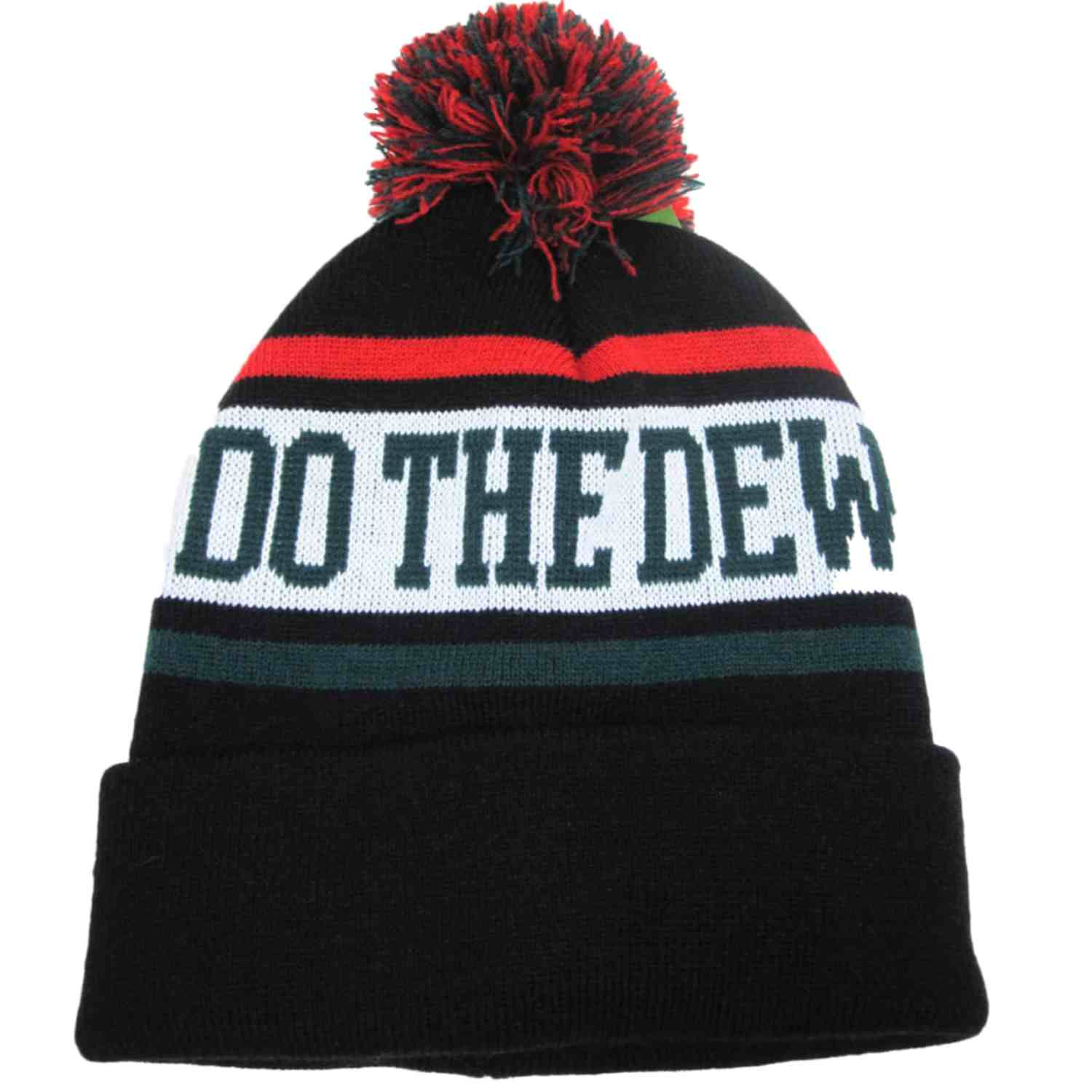 Mountain Dew Mens Black Do the Dew Beanie Stocking Cap Winter Hat
