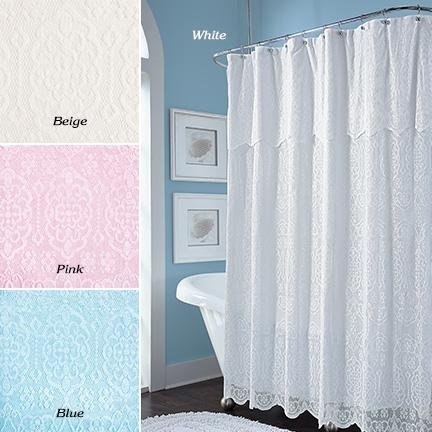 Lace Shower Curtain With 12 Clear Plastic Rings Beige
