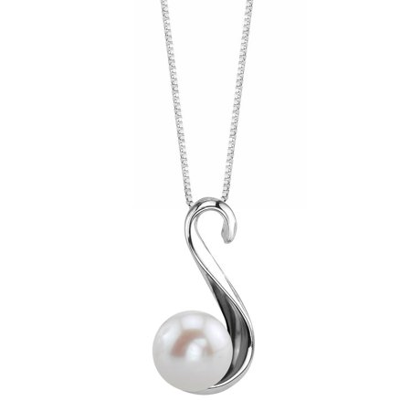 - 8mm White Freshwater Cultured Pearl Anastasia Pendant Necklace
