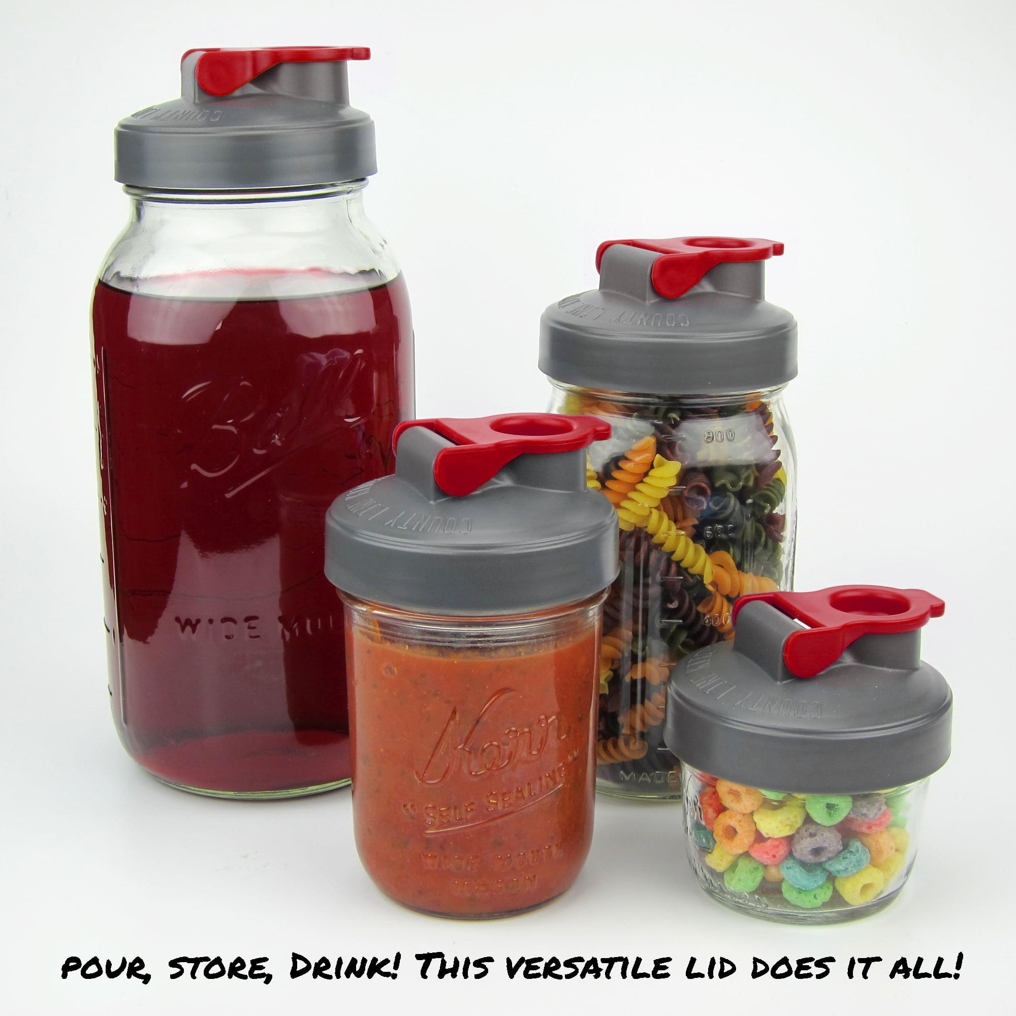 Drink Store Wide Mouth Mason Jar Flip Cap Lid By County Line Kitchen Wit Pour