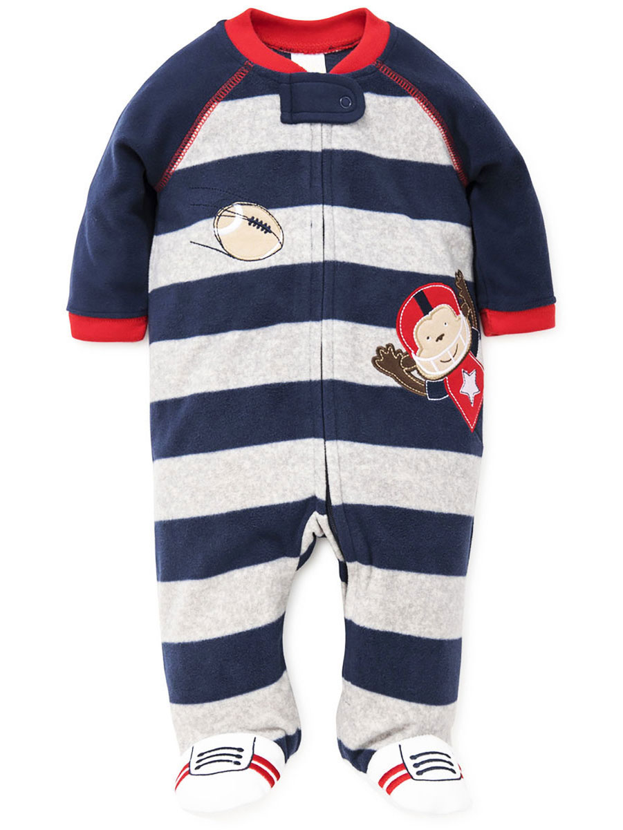 Carters Baby Boys One Piece Footed Fleece Pajamas 24 Months, Striped Monkey Hat