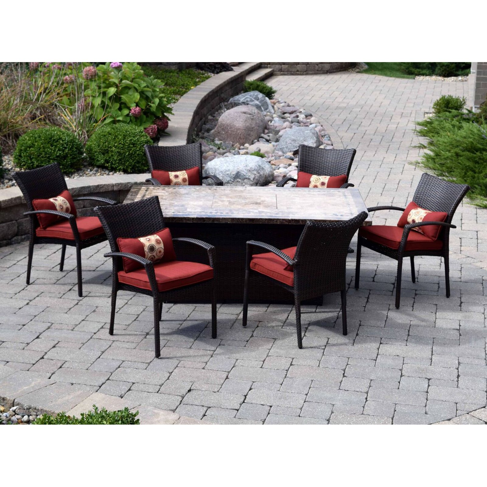 Outdoor Innovations South Beach Wicker Fire Pit Chat Set