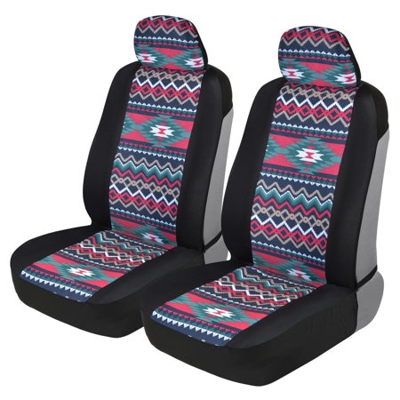 BDK Two Tone Pattern Car Seat Covers - Sideless Chic Style - Soft & Flexible Polyester (Inca Tocapu