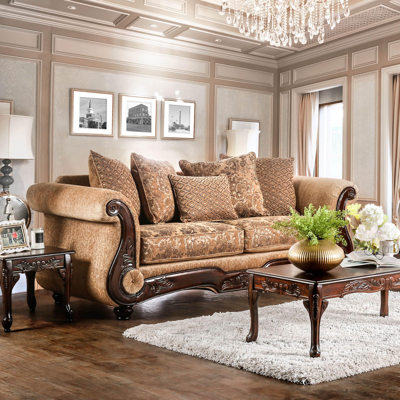 Furniture Of America Ersa Traditional Bronze Chenille Sofa By Foa