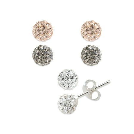 6mm Black Diamond, Light Peach and Clear Crystal Fine Silver Plated Stud Earring Set Crystal 6 Mm Stud
