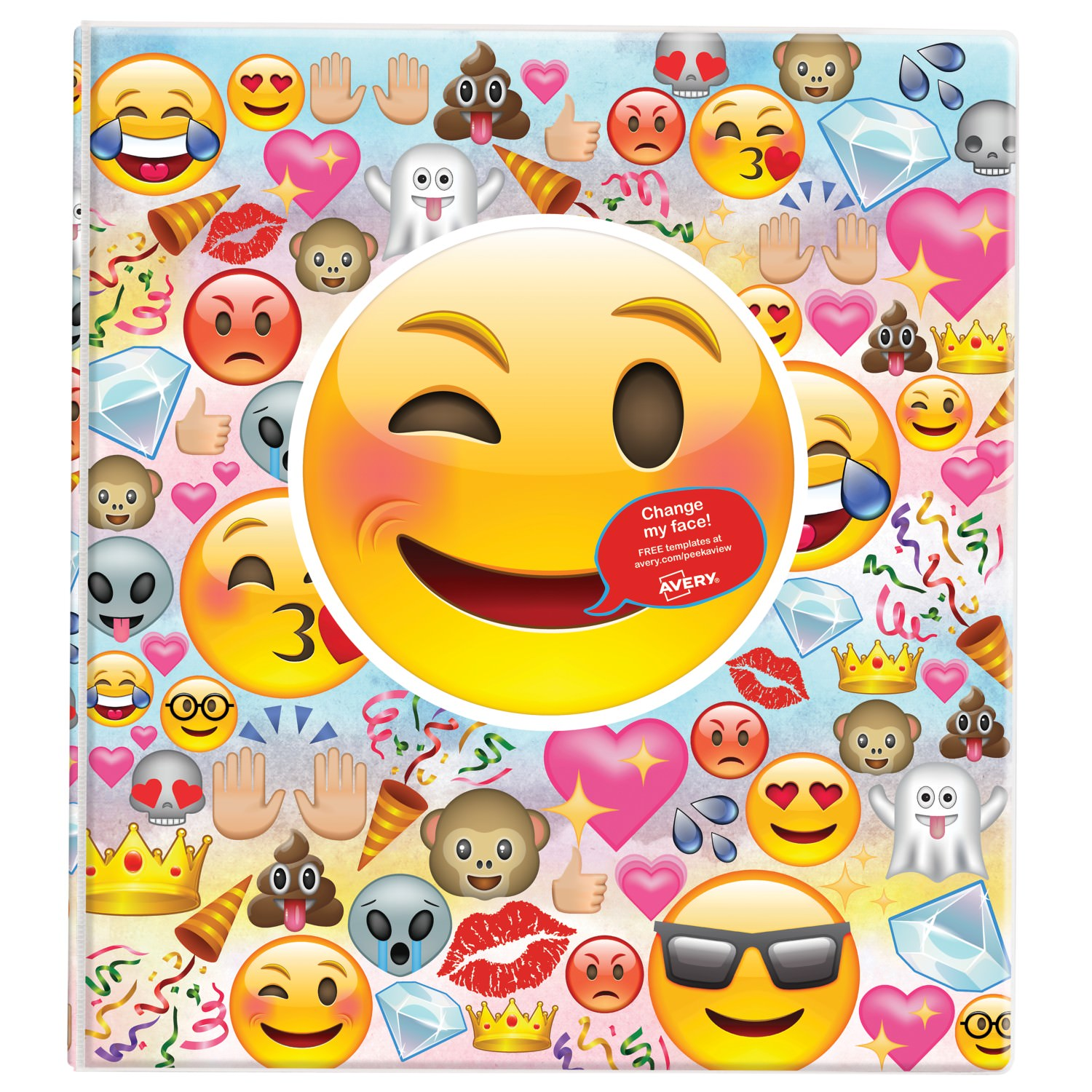 "Avery® Peek a View™ Binder, 1"" Round Rings, 175-Sheet Capacity, Emoji Collage (26754)"