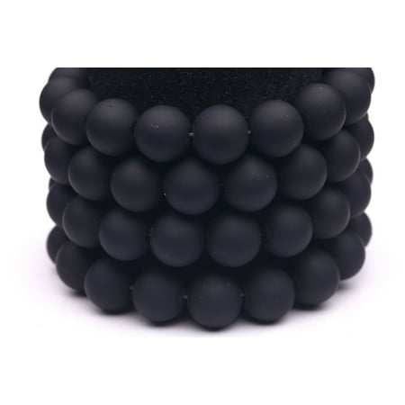 Frosted Glass Beads Black Rubber-Tone Beads 12mm Round Sold Per Pkg of 1x32Inch (76 Beads)