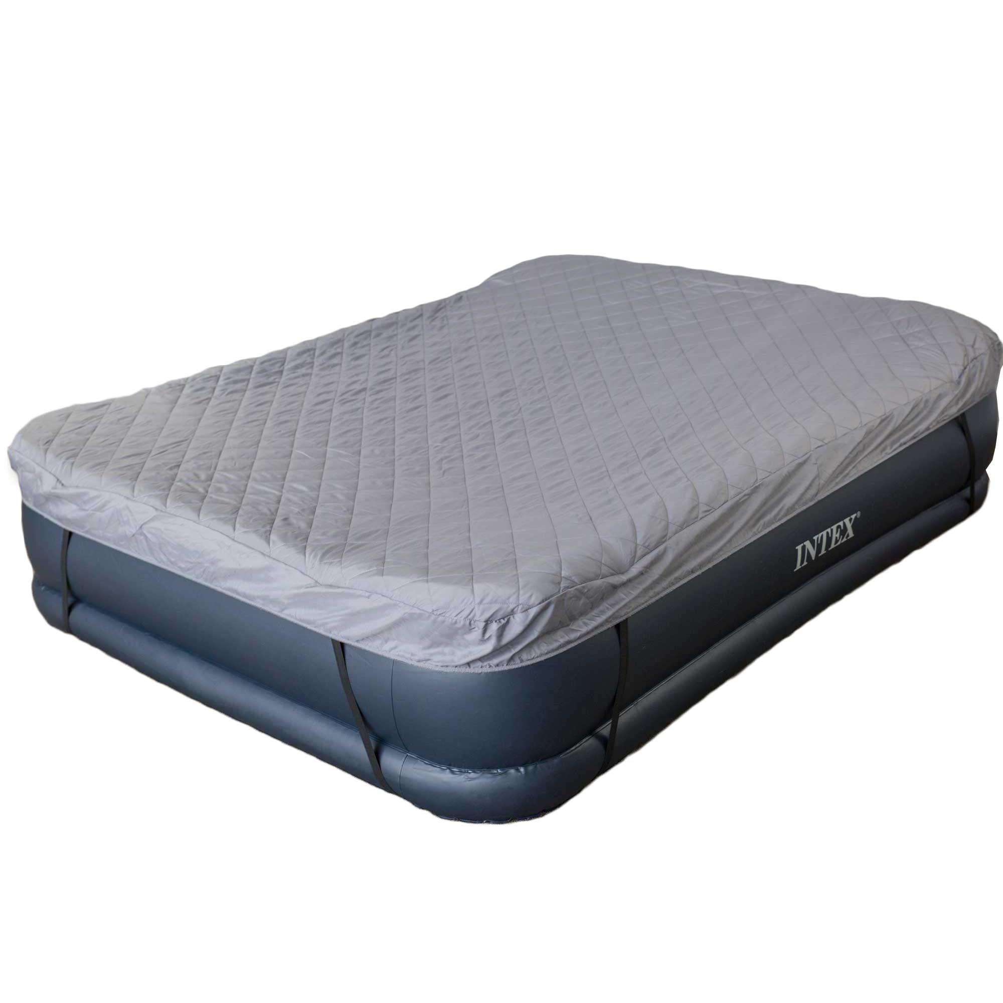 Intex Deluxe Queen Raised Pillow Air Mattress with Built-In Pump + Quilted Cover