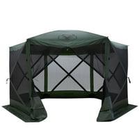 Gazelle GG600GR 8 Person 6 Sided Portable Pop Up Gazebo Screened Tent, Green