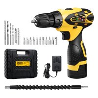 URCERI 16.8V Cordless Electric Drill Kit 2000 mAh Lithium-ion Battery 18+1 Keyless Clutch 2-Speed Driver with LED, Multiple Sockets, Screwdriver & Drill Bits,Yellow Black