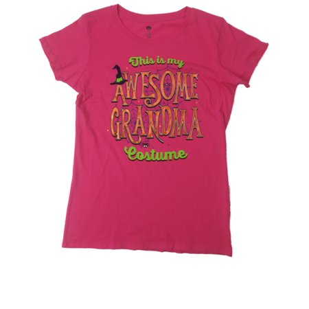 Womens Hot Pink Awesome Grandma Costume Halloween Tee Shirt Spider Web T-Shirt - Awesome Halloween