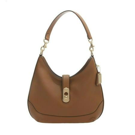 Coach Amber Pebble Leather Hobo Handbag in Light Saddle